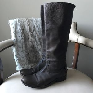 Frye Melissa button back brown leather boots